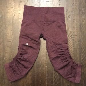 Lululemon In the flow crop Maroon leggings